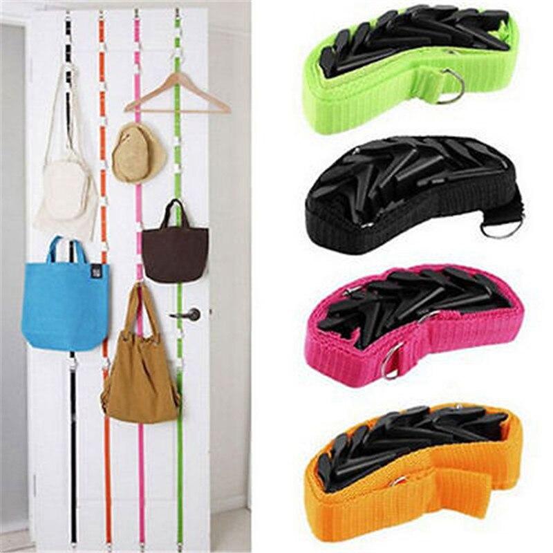 Correas ajustables sombrero perchero abrigo ropa organizador almacenamiento soportes colgador sobre la puerta cocina armario 8 ganchos