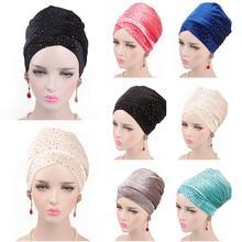 ¡Novedad! gorro de turbante de tubo de cola larga de terciopelo árabe para mujer, Hijab, pañuelo musulmán para la cabeza, chal islámico con lentejuelas, gorro
