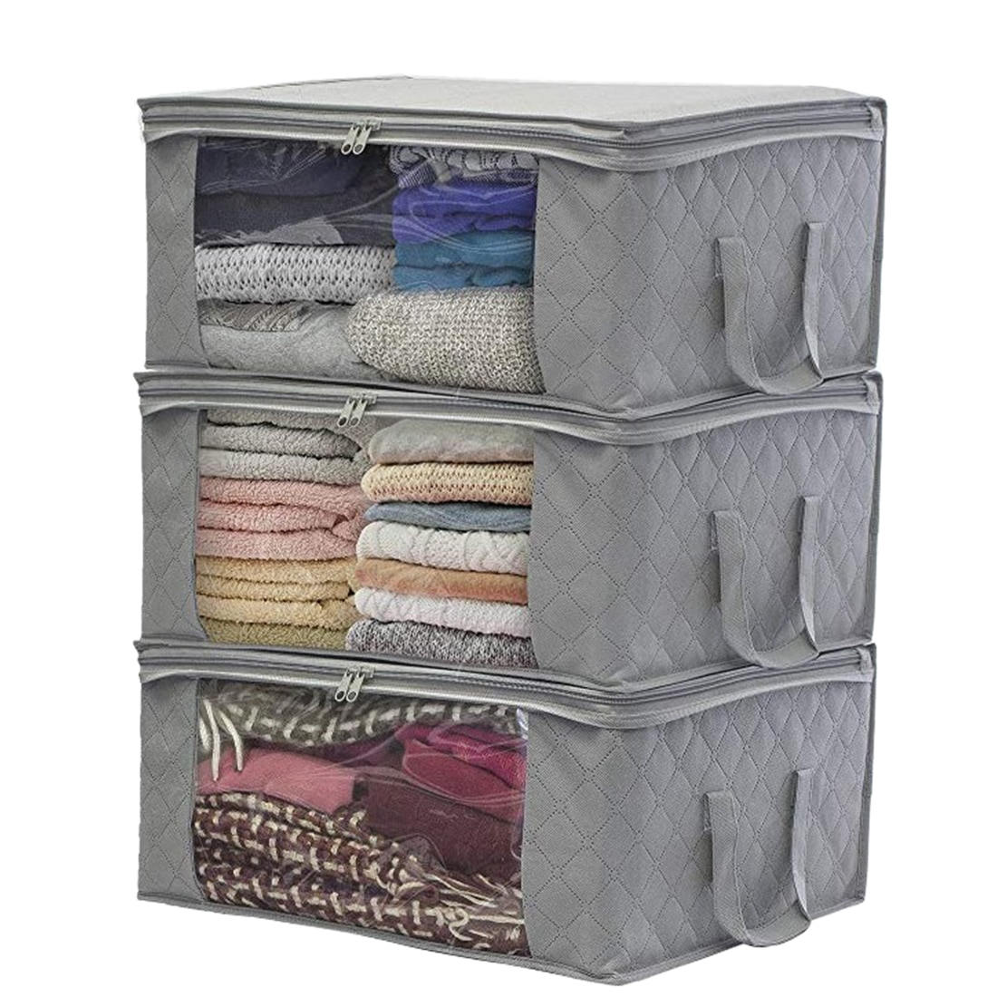 1/3 Uds. Organizador de ropa portátil no tejido, bolsa organizadora, bolsa organizadora, caja de almacenamiento para el hogar, bolsa contenedora de almacenamiento para colcha, gris
