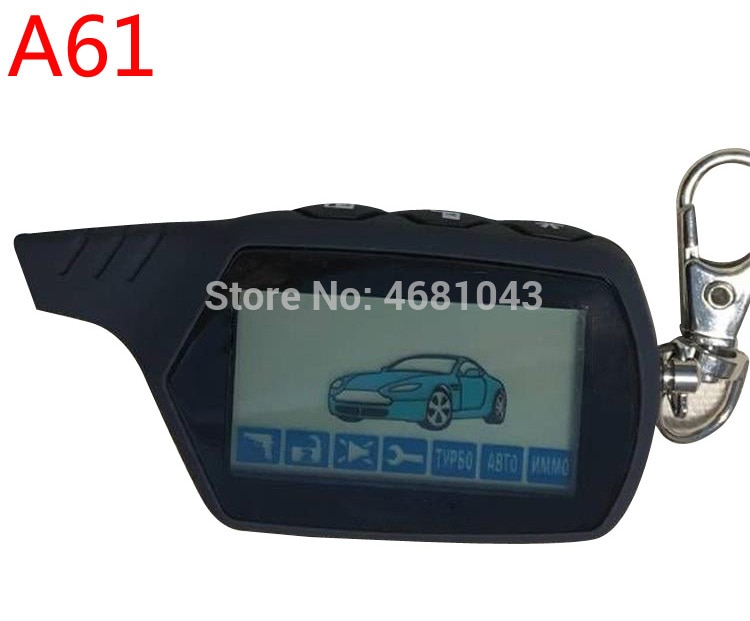 A 61 keychain 2-way LCD Remote Control Key Fob For Russian Vehicle Security Two Way Car Alarm System
