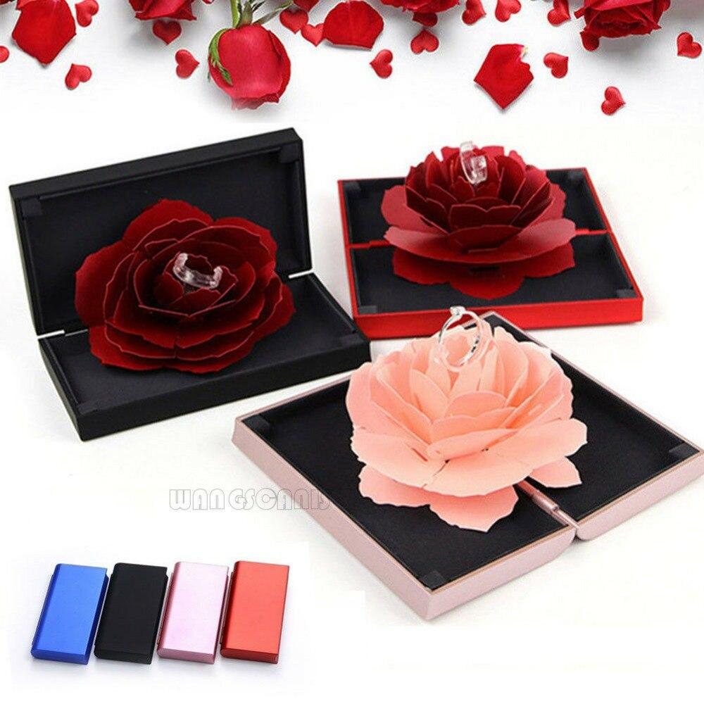 3D Pop Up Rosa caja anillo boda compromiso joyería almacenamiento caja Bump Cajas de Regalo