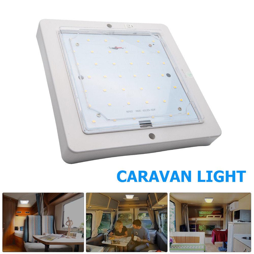 12V 9W Car Caravan LED Warm White Light Indoor Roof Ceiling Interior Lamp Dome