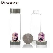 Soffe 600 Ml Energie Healing Natuurlijke Kristal Fles Water Edelsteen Quartz Mijn Crystal Glas Water Flessen Bpa Gratis Met Deksel tumbler