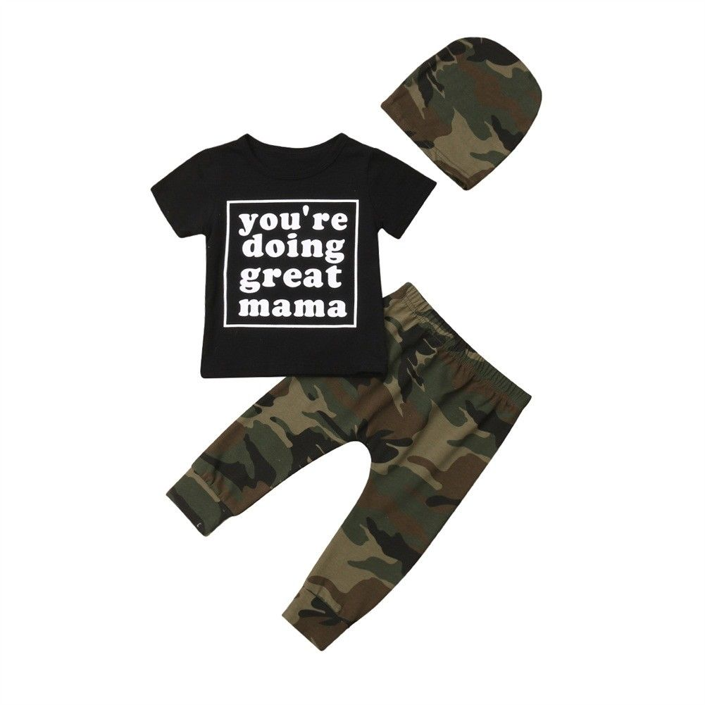 Conjunto de 3 uds. De Camiseta de algodón con letras de manga corta para niños pequeños y bebés, ropa de camuflaje