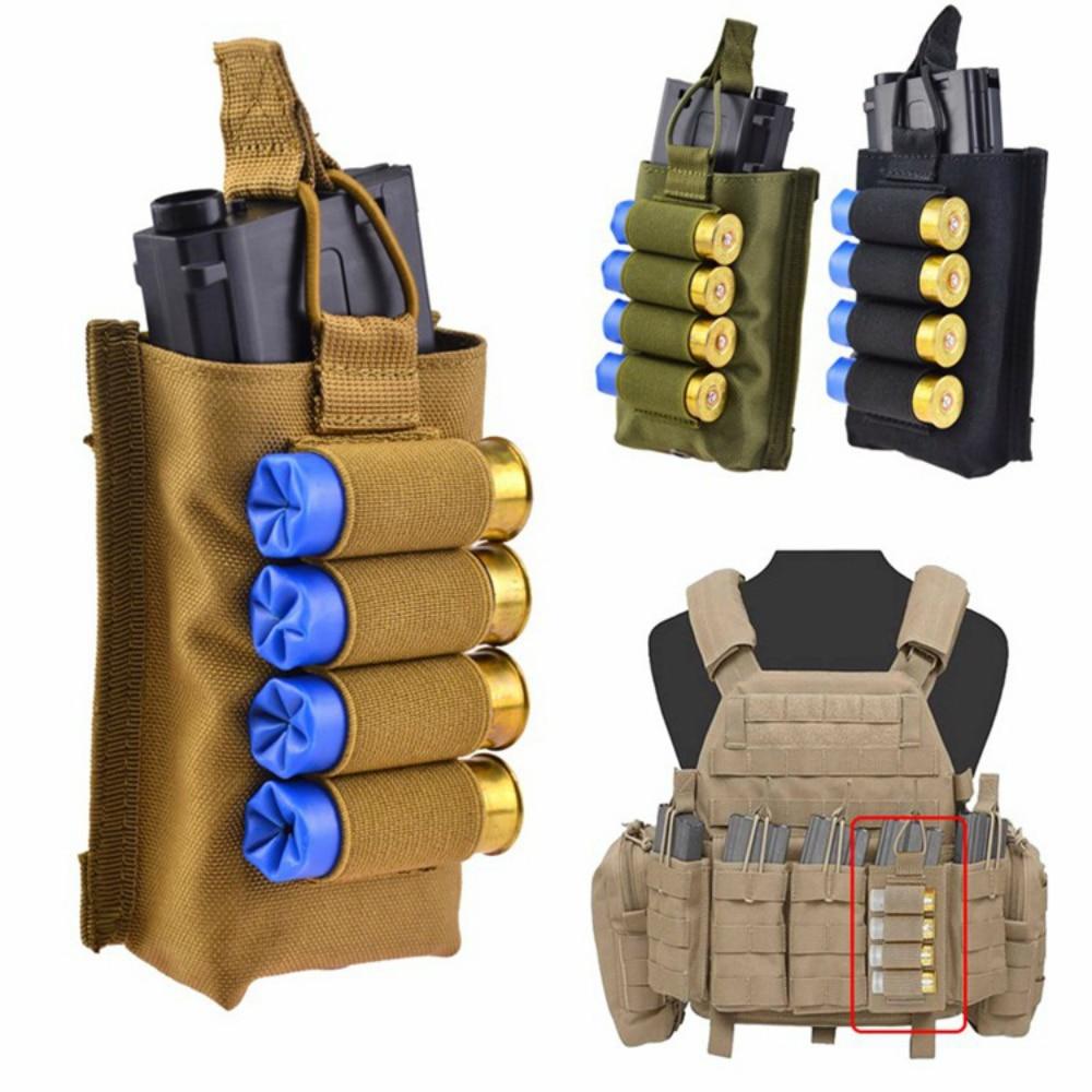 Тактический аксессуар для жилета Molle, сумка для журнала с 12 калиброми, Страйкбольное ружье, держатель для военных охотников, сумка для боев