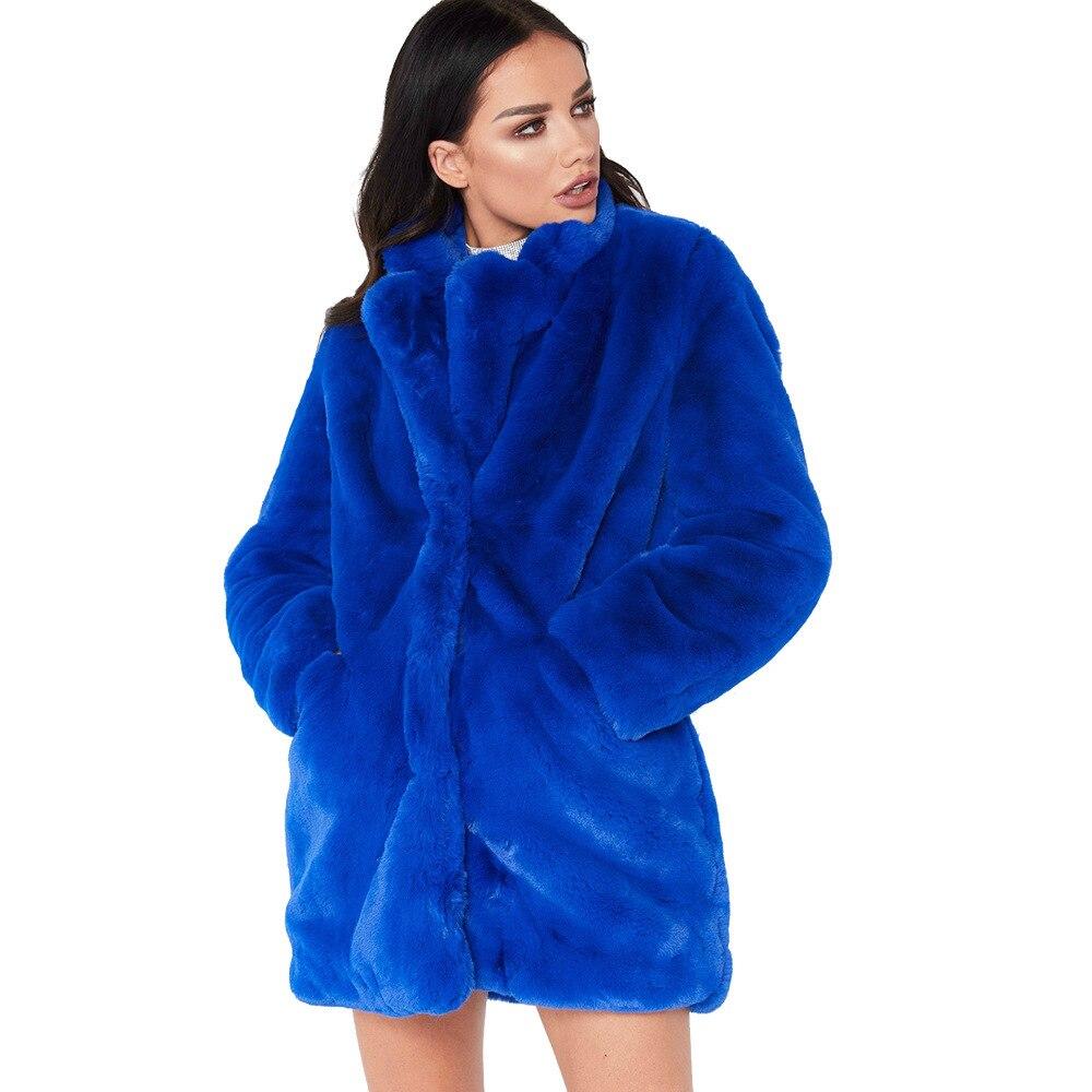 Abrigo largo de piel sintética de invierno para mujer, Tops sueltos, prendas de vestir de felpa gruesas, cuello vuelto, abrigo cálido peludo de talla grande para mujer