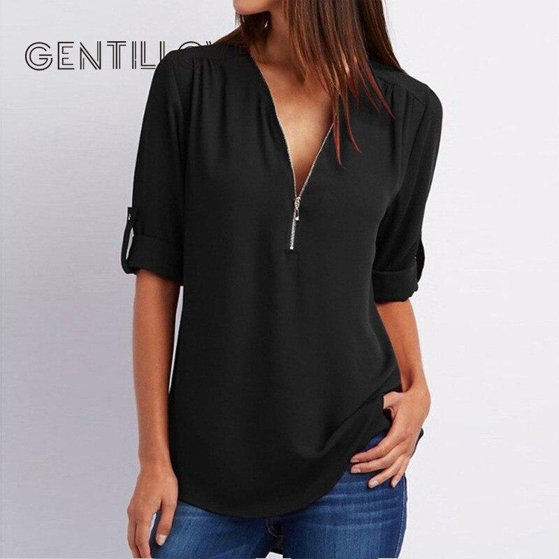 Mulheres sexy blusa camisas com zíper decote em v tops e blusa plus size roupas femininas camisetas casuais de grandes dimensões 5xl roupa feminina