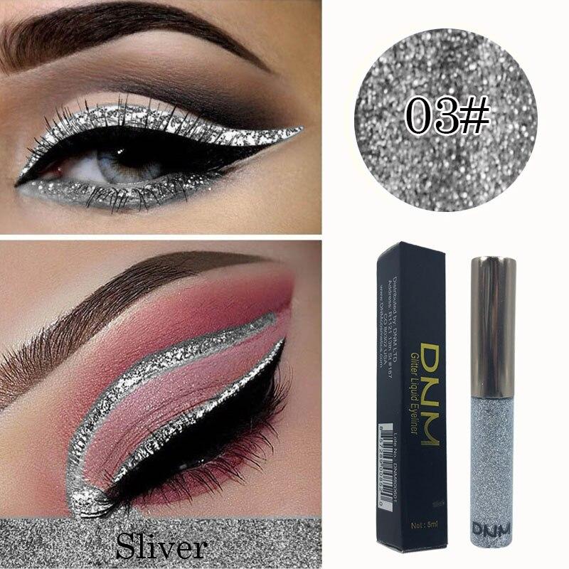 Dnm delineador líquido de prata 5ml, delineador de sombra líquido de secagem rápida para os olhos, maquiagem à prova dágua, delineador líquido para os olhos, 1 peça maquiagem tslm2