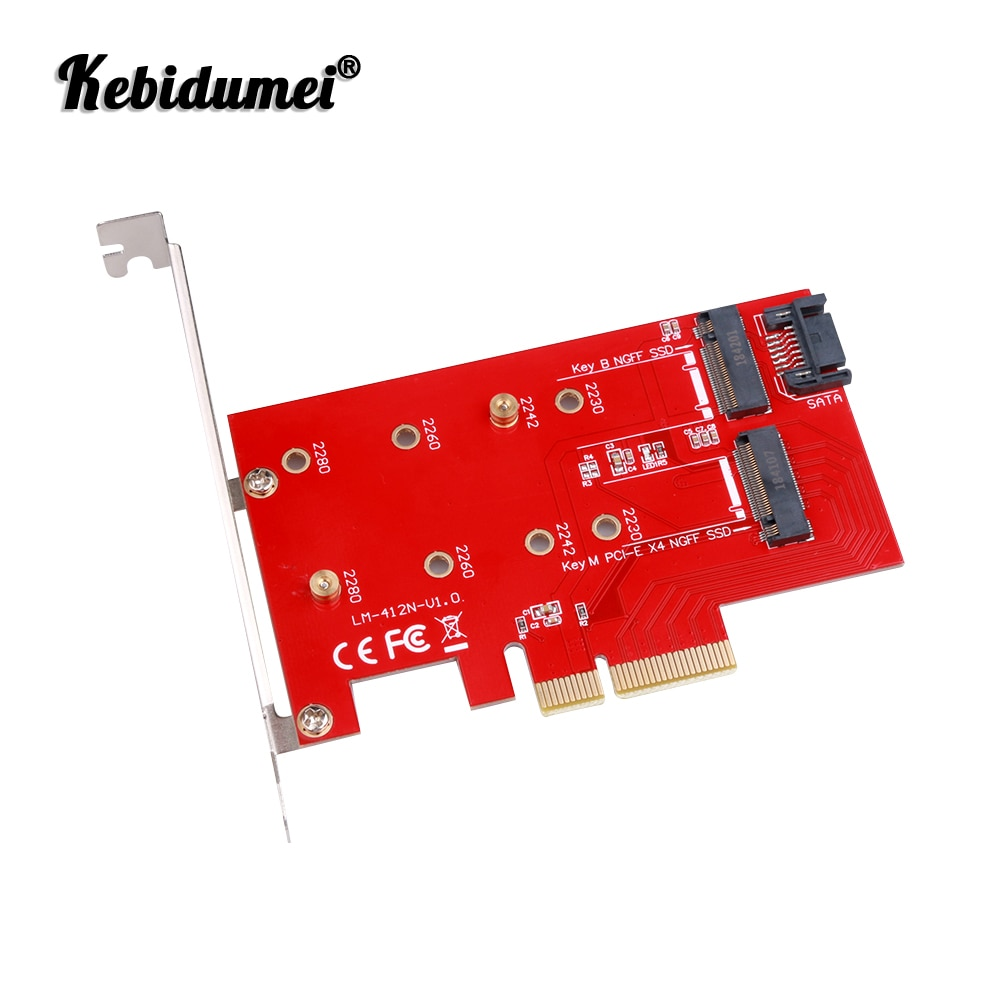 Адаптер Kebidumei NGFF на PCIE X4, ключ M и B, SATA порт, Расширительная карта, Поддержка порта PCI Express 3,0, Поддержка порта 2230, 2242, 2260, 2280