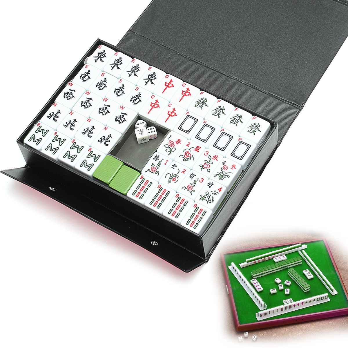 Juego raro de MahJong chino portátil de 144 azulejos, juego Retro de Mah-Jong + caja de ajuste personalizada, entretenimiento, diversión, juegos de mesa familiares