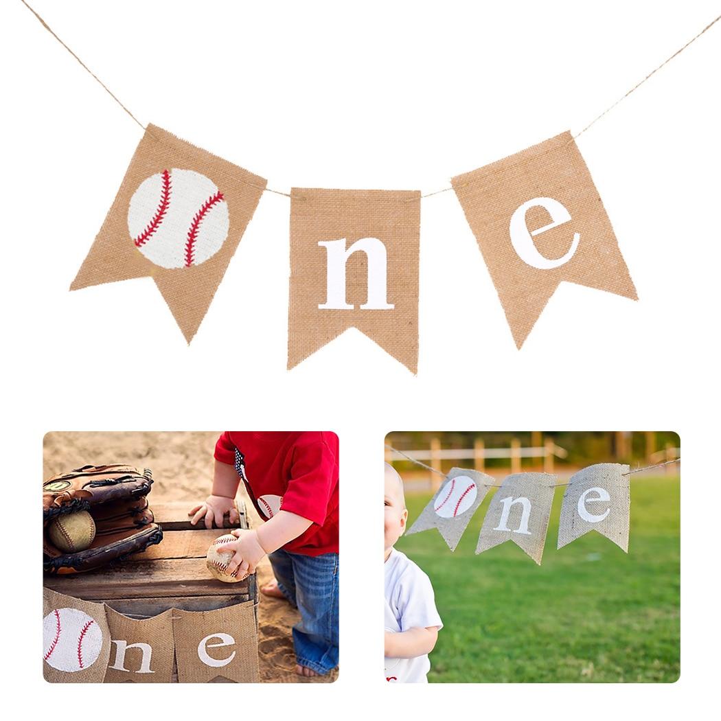 Bebé 1er cumpleaños Banner colgante de béisbol arpillera Banner decoración para fiesta de cumpleaños de bebé Banner para fiesta
