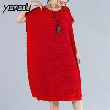 #0901 Summer Large Size Thin Chiffon Sleeveless Dress Women Red/Black/Grey Elegant Fashion O-neck Dresses Oversized Striped Tide
