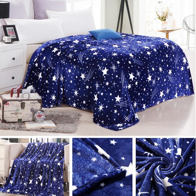 Manta de franela de alta densidad, colcha de estrellas brillantes, manta súper suave para el sofá/cama/coche, mantas portátiles
