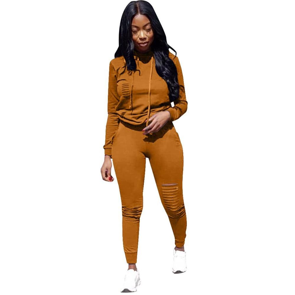 S-XXXL 6 cores macacão de inverno outono hoodies + calça agasalho moda sexy feminino conjunto duas peças ternos treino casual