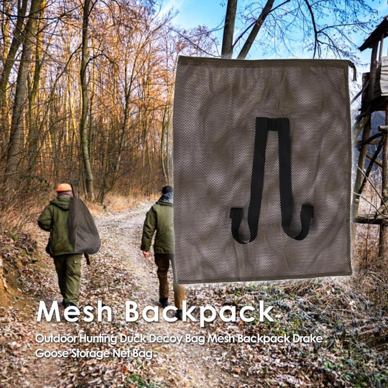 Bolsa de caza al aire libre bolso señuelo de pato mochila de malla con correas de hombro Drake Goose Bolsa de red de almacenamiento
