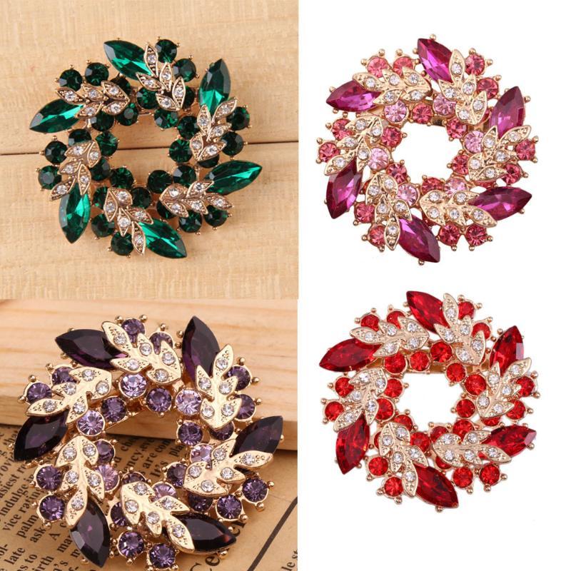 4 colores Multi-choice favorecedor Lady Crystal broche de mano ornamentos abrazadera accesorio tamaño 4,5*1 cm