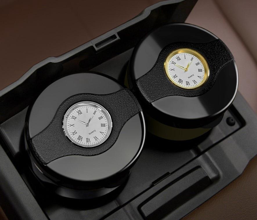 Soporte de Cenicero Led para coche de alta calidad con reloj para Toyota Highlander Prado FJ150 Crown Land Cruiser Prius Vitz Corolla Yaris