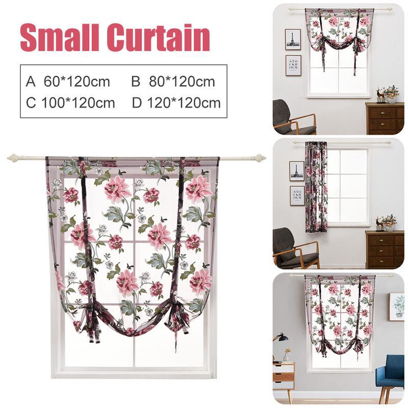 Cortinas cortas de cocina, cortina de ventana de baño Jacquard, persianas romanas, Panel Floral transparente, cortinas para puertas y ventanas, decoración para el hogar