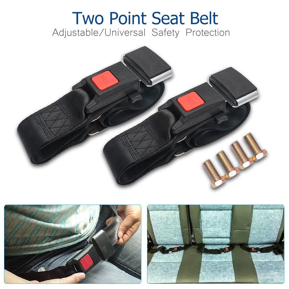 2x Universal Car Truck Seat Belt Lap Belts 1.2m Adjustable Two 2 Point Security