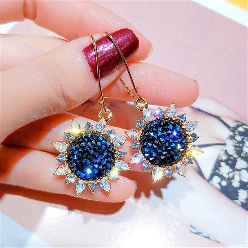 FYUAN nuevo Pendientes de gota geométricos de diamantes de imitación para mujer niña 2019 Bijoux azul sol flor Corea pendientes regalos de joyería Declaración