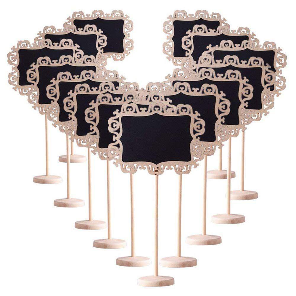 14 PCS Mini Quadro Sinais Beira Decorativa com Suporte Placa Preta para Casamentos Cartões do Lugar, Festas, placa da mensagem Assina um