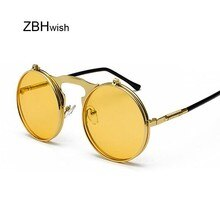 Steampunk Moda Óculos Redondos Óculos de Sol Das Mulheres Dos Homens Designer de Marca de Metal Retro Quadro Óculos de Sol Do Vintage Masculino de Alta Qualidade