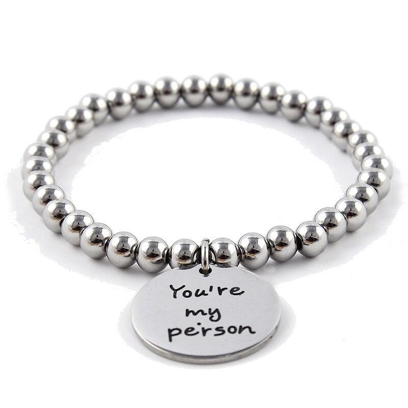 Pulsera rígida grabada youre my person universal handwear steel ball letter pulsera redonda para hombres y mujeres