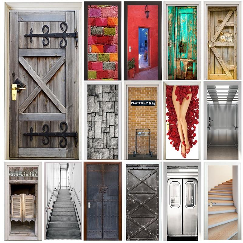 Tür Aufkleber Retro Alten Holz Tür Polizei Halle U-bahn Station Bar Aufzug Treppen Farbe Ziegel Ziehen Tür Wohnkultur Paste