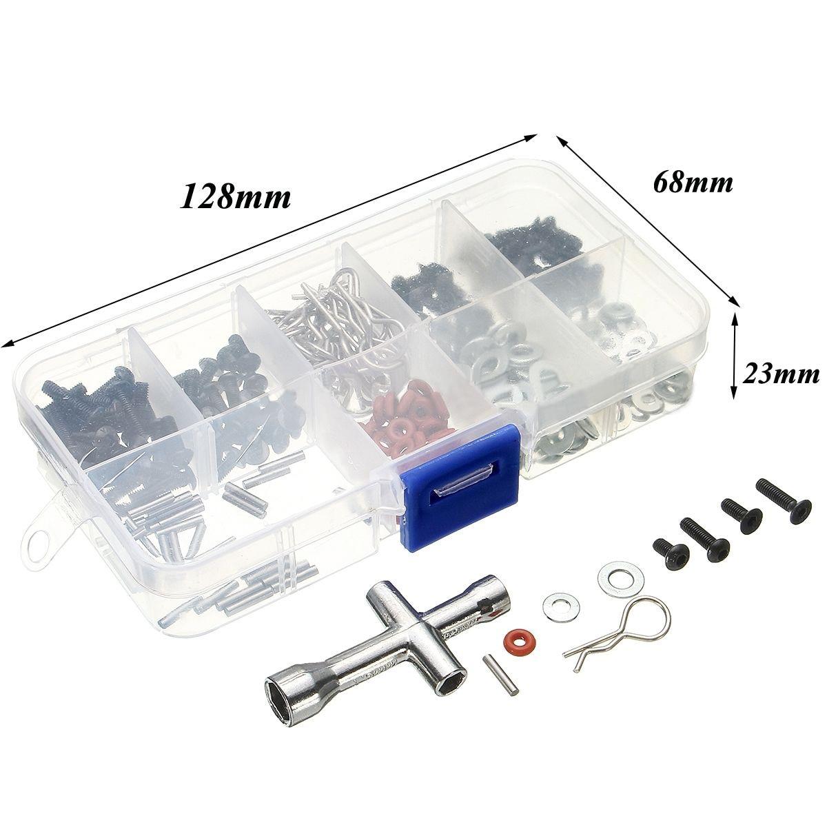 Novo 270 pçs ferramenta de reparo parafusos kit caixa para 1/10 hsp rc acessórios do carro para ferragem acessórios