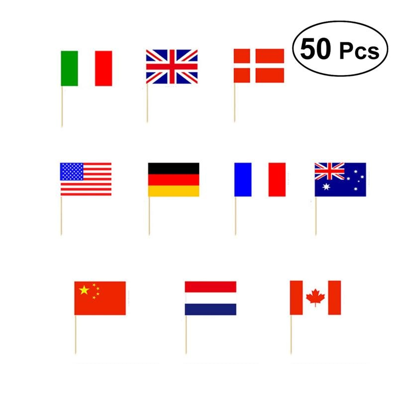 50pcs  National Flag Picks Cocktail Sticks Flag Toothpicks Dessery Sandwich Fruit Cupcake Toppers Decoration