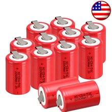 12pcs NiCd 4/5 SubC Sub C Ni-Cd Rechargeable BatteryTab 1.2V 2200mAh Red NEW