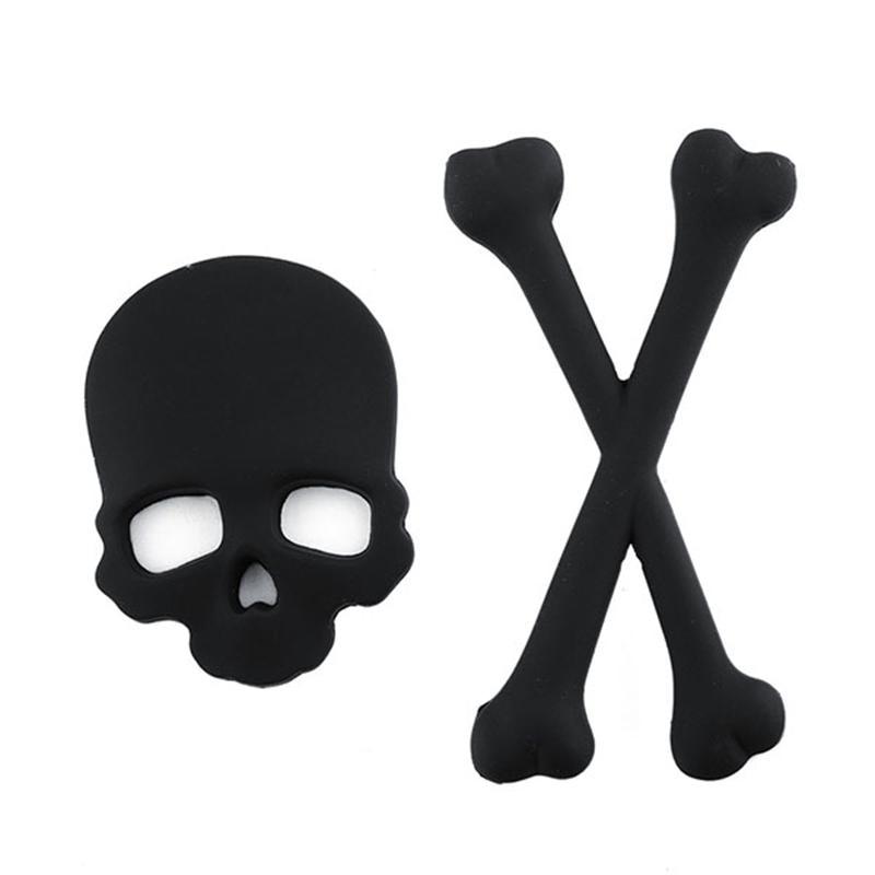 Nueva calcomanía 3D 3M calavera Metal esqueleto Crossbones coche motocicleta etiqueta calavera emblema insignia coche pegatinas de diseño calcomanía (negro)