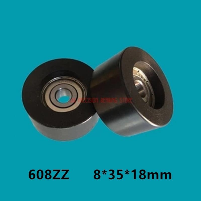 بكرة بلاستيكية من النايلون مع محمل ، 2021 بوم بولي يوريثان ، عجلة مسطحة للطابعة ثلاثية الأبعاد ، مقاس 8*35*18 مللي متر ، 608