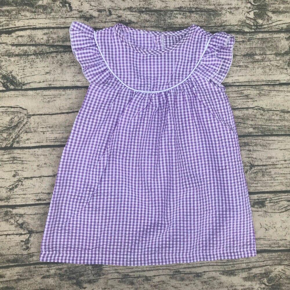 Vestidos de verano de lujo al por mayor para bebé chico niña vestido de moda nuevo estilo bebé seersucker vestido