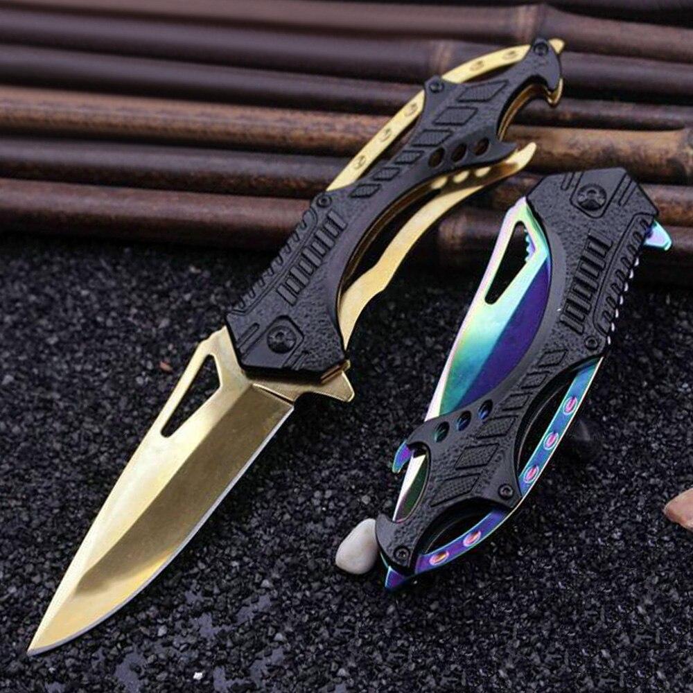 Super PDR 3 colores negro y dorado y colorido bolsillo cuchillo titular cuchillo al aire libre cuchillo plegable herramienta de mano Cuchillos plegables cuchillas de Damasco