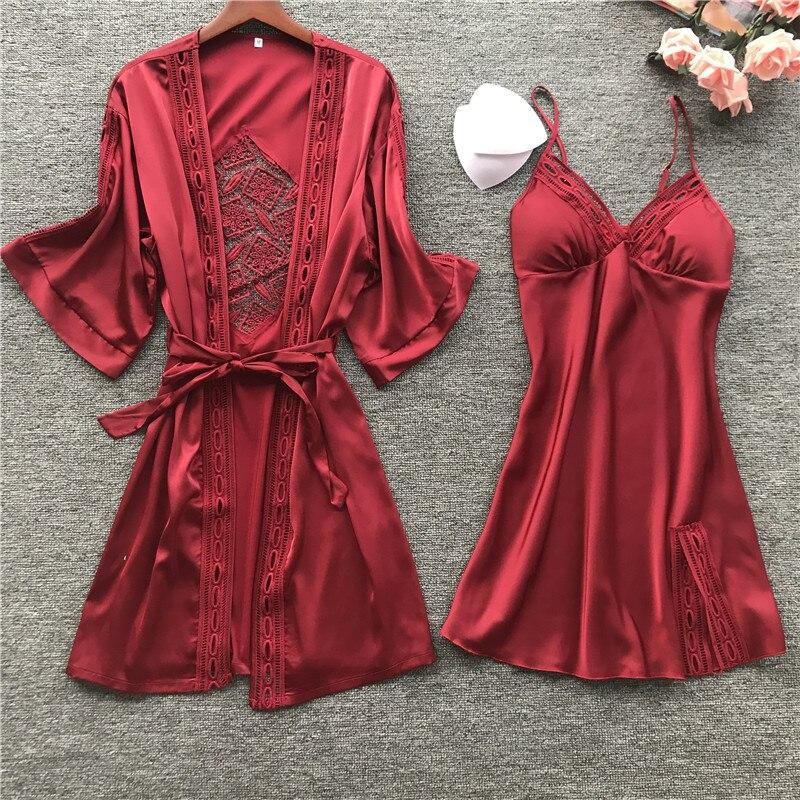 2019 Women Robe & Gown Long Sleeve Ladies Nightwear Sets Sexy Lace Sleep Lounge Pijama Bathrobe Night Dress With Chest Pads