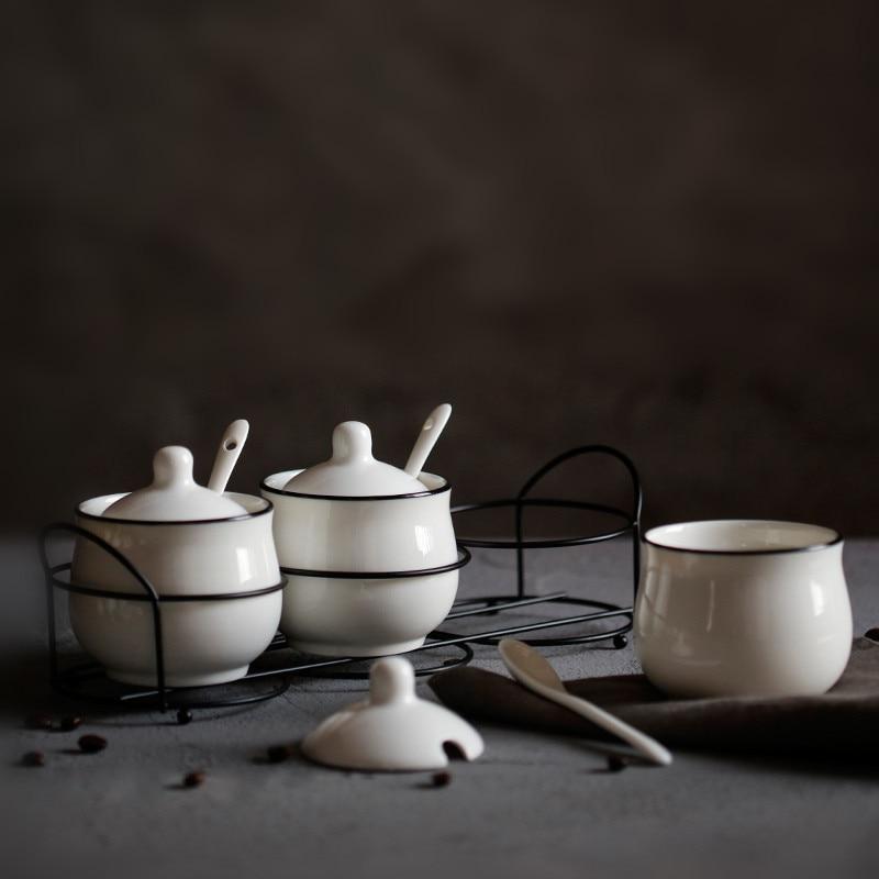Restaurante casa simples de cerâmica tempero jar três-piece cozinha condimento tempero jar definir branco tanque de armazenamento do agregado familiar