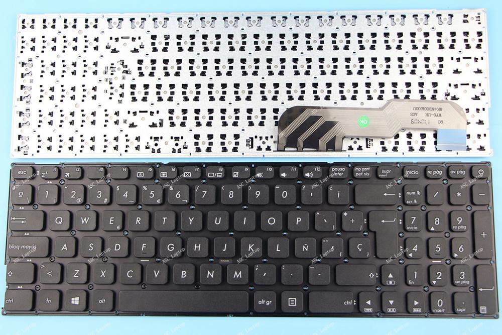 Novo sp teclado espanhol teclado para asus a541 a541s a541sa a541sc a541u a541u a541ua a541uv portátil preto sem moldura