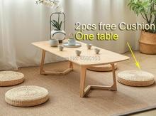 Mesa de centro tradicional china mesa de té de madera de roble mesa de ventana flotante de estilo japonés, mesa de centro, rectangular Chanyi