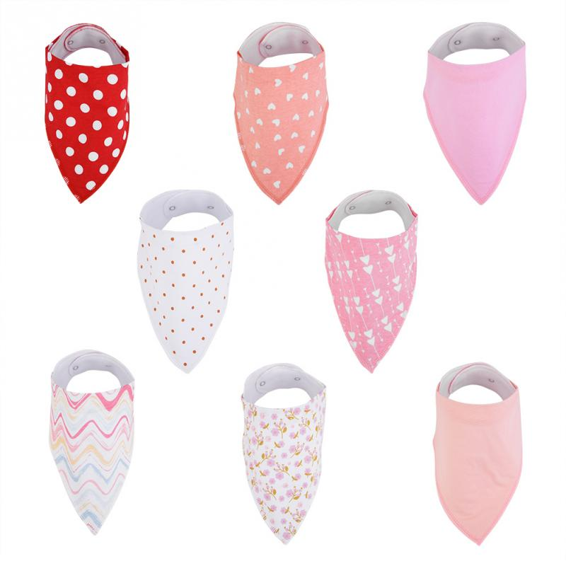 8 unids/set ajustable algodón niño niña bebé Baberos para recién nacido bebé bufanda comida para bebé babero Collar babero ropa