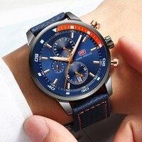 MINI FOCUS Watches Mens Luxury Brand Sport Watch Men Fashion Leather Wrist Watches Black Blue Coffee Male Clock For Gentleman