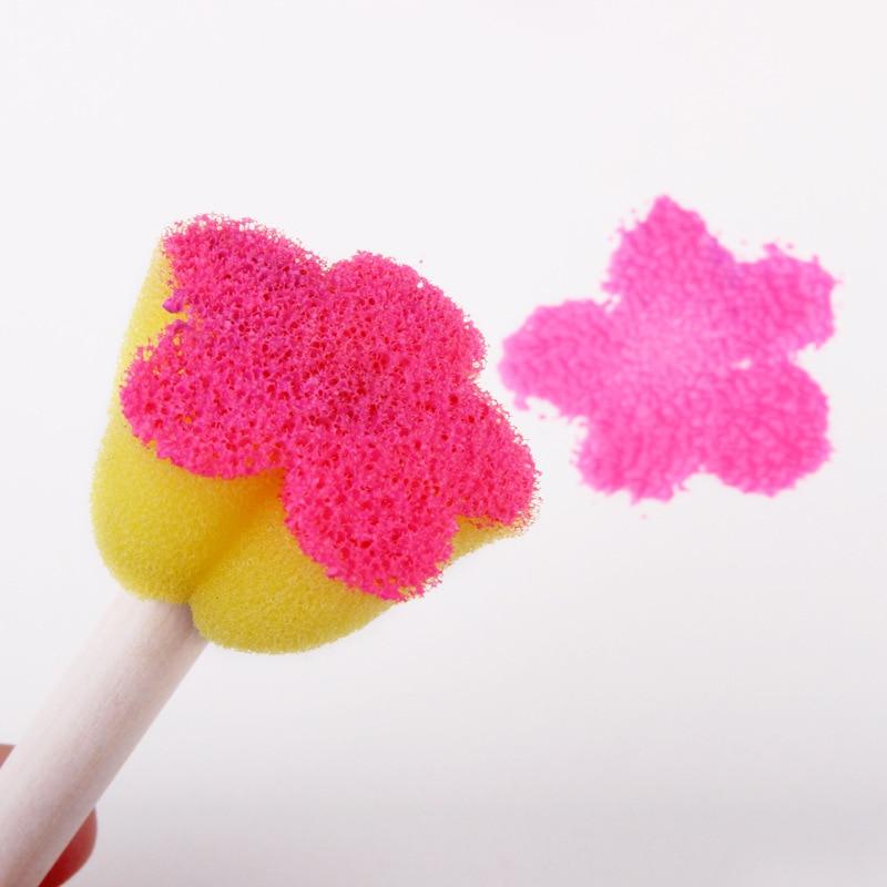 5Pcs Art DIY Painting Colorful Flower Pattern Creative Sponge Brush Children Baby Funny Drawing Tools Toys Gift Soft Sponge