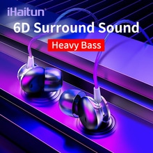 IHaitun écouteurs dans loreille, casque audio de Sport pour iPhone Samsung Xiaomi, casque fone de ouvido auriculares kulaklık, MP3, 6D