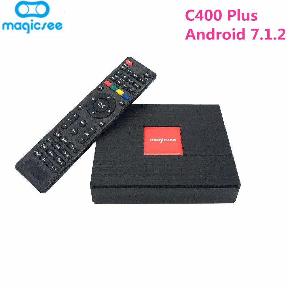 Magica C400 Mais Híbrido S2 + S912 T2 + C TV Box Amlogic Android 7.1.2 32 3 GB RAM GB ROM 2.4G + 5G WiFi 100 Mbps BT4.1 PVR