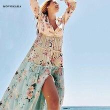 Printemps été à manches longues Boho robe femmes épissure florale vacances robe de plage robes décontractées pour les femmes élégantes longues robes femme