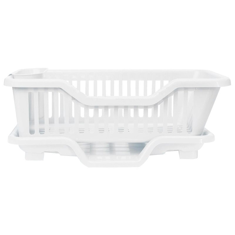 Cocina fregadero plato utensilio escurridor tendedero soporte cesta organizador bandeja, blanco