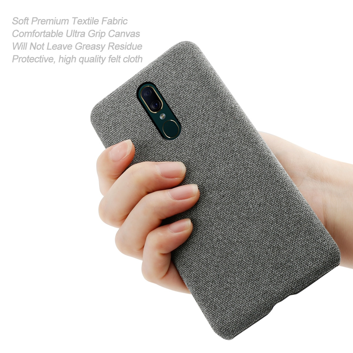 Funda protectora para teléfono móvil OPPO F11, funda trasera delgada, dura, PC, tela tejida, tela de fieltro, funda protectora para OPPO F11, funda antiarañazos