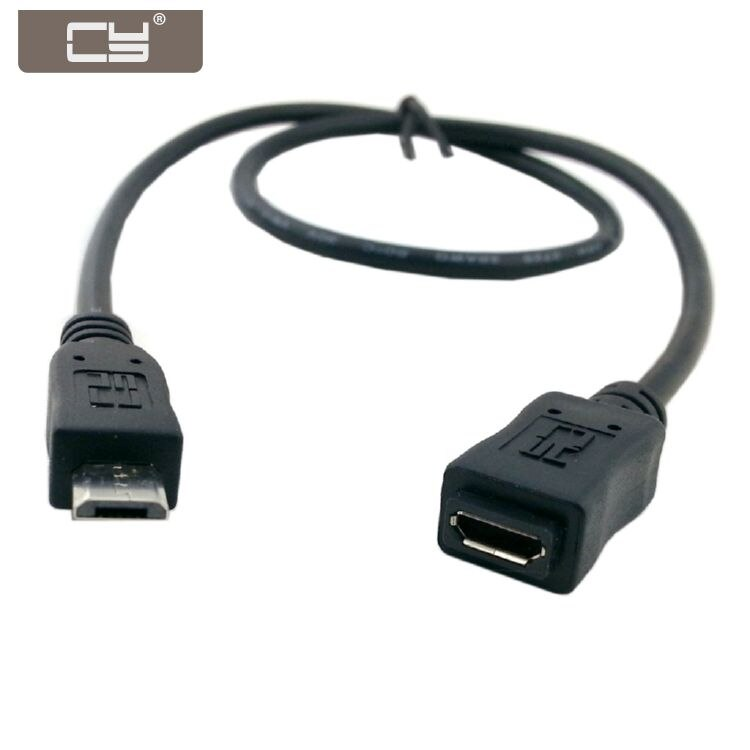 CYDZ 50cm Full Pin Connected Micro USB 2.0 type 5Pin Male to Female Cable for Tablet & Phone &  & OTG Extension недорого