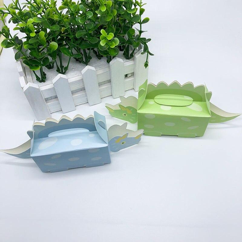 Boîtes cadeaux pour fête danniversaire   Boîte à dragées en carton à thème dinosaure, cadeau pour réception-cadeau pour bébé, sac à gâteaux pour événements danniversaire