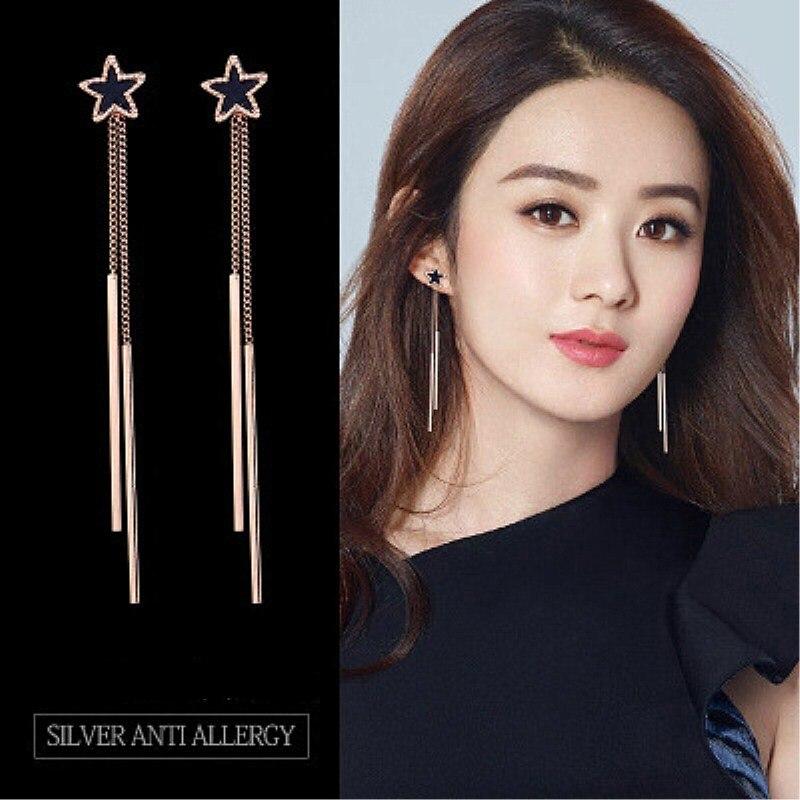 Mini pendientes colgantes de borla de estrellas de lujo para mujer, pendientes largos geométricos de oscilación, regalo de fiesta, joyería